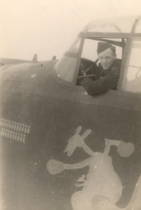 Don Caldwell Smith in his Lancaster bomber.