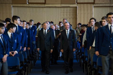The Official Party, led by Headmaster John Weeks and Hon Dr Brendan Nelson, enter the Great Hall.