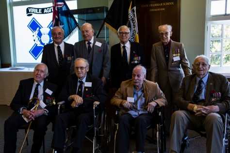 The Veterans of 'For School and Country' - L-R (top): Arthur Pardey, Phil Stevenson, Lysle Roberts, Barney Greatrex; L-R (bottom): Richard Miles, Don Caldwell Smith, John Hore-Lacy, Eric Thew